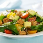 Arugula and Cherry Tomato Salad with Avocado and Croutons