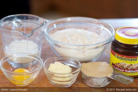 First get together the ingredients to make the bread.