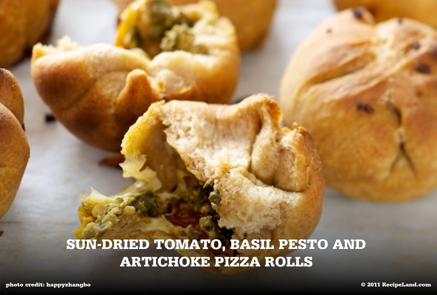Sun-dried Tomato, Basil Pesto and Artichoke Pizza Rolls
