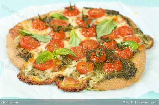 Basil Pesto Cherry Tomato Pizza Recipe