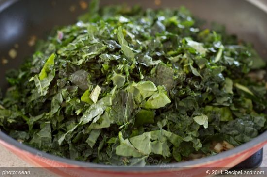 Add the stemmed and chopped kale leaves.