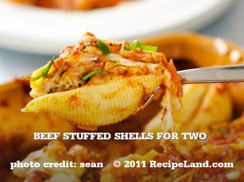 Beef Stuffed Shells for Two