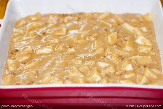 Pour into the prepared baking pan.