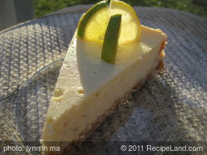 Margarita Cheesecake with Lime Sour Cream Topping
