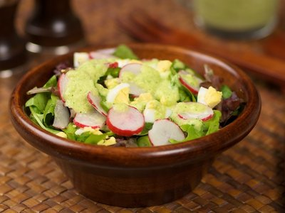 Mixed Greens with Cucumber Chives and Parsley  Vinaigrette