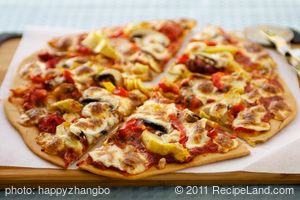 Artichoke Hearts, Roasted Bell Pepper and Fresh Mozzarella Pizza