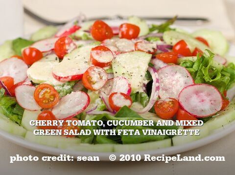 Cherry Tomato, Cucumber and Mixed Green Salad with Feta Vinaigrette