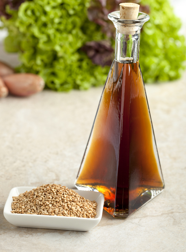 sesame oil and toasted sesame seeds