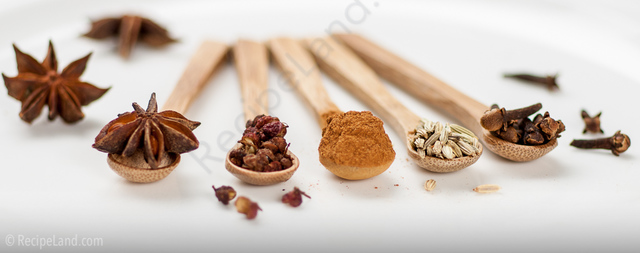 The five spices used in five spice powder