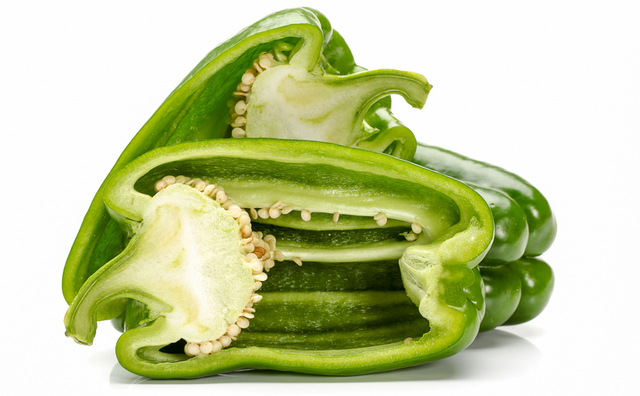 green bell pepper halved lengthwise